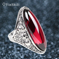 Jiashun Silver Ring Female Fashion Exaggerated Finger Ring Garnet Ruby Ring Joint Personality