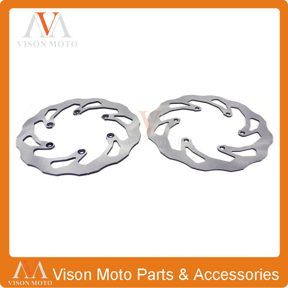 Front & Rear Wavy Brake Disc Rotor Set For Honda CR125 CR250 CRF250R CRF250X CRF450R CRF450X Off Road Motocross Dirt Bike 2 pieces motorcycle front disc brake rotor scooter front rear disc brake rotor for honda cb400 1994 1995 1996 1997 1998