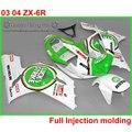 Injection 100% fit for Kawasaki ZX-6R 2003 2004 green LUCKY STRIKE bodywork fairings set Ninja 636 ZX 6R 03 04 fairing kit ZK99