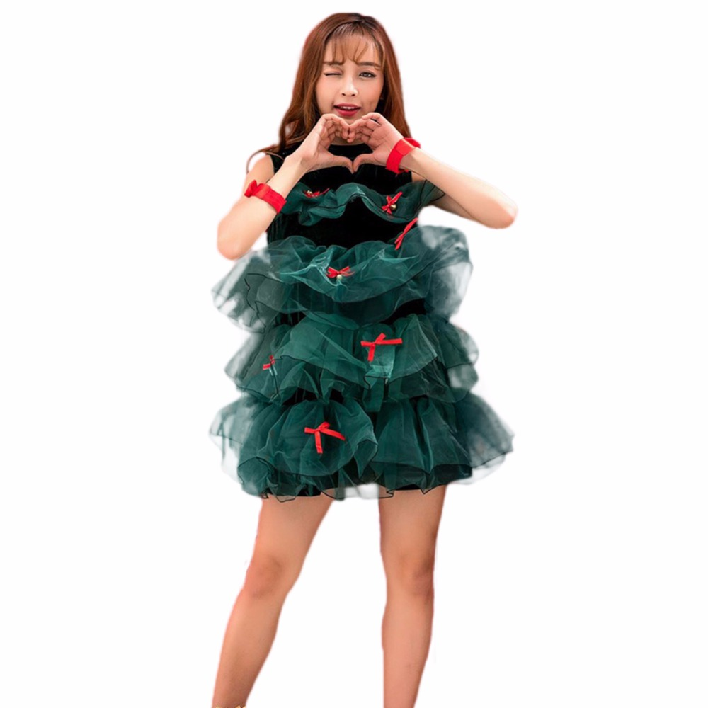 Women Christmas Tree Dress Costume Girls Adult For Xmas Party Stage