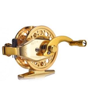 Image 4 - YUYU moulinet de pêche à la mouche entièrement en métal, avec frein automatique, moulinet de poisson sur glace en alliage daluminium, ratio dengrenage de 3.0:1 4 + 1BB