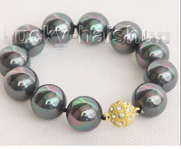 8 16mm round peacock black south sea shell pearls Bracelet magnet clasp >Wholesale Lovely Women's Wedding Jewelry