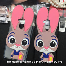 Lovely Cartoon Rabbit Case for Huawei Honor V9 Play / Honor 6C Pro JMM-AL00/AL10 Soft TPU Phone Cases Back Cover 3D Funda Pink(China)