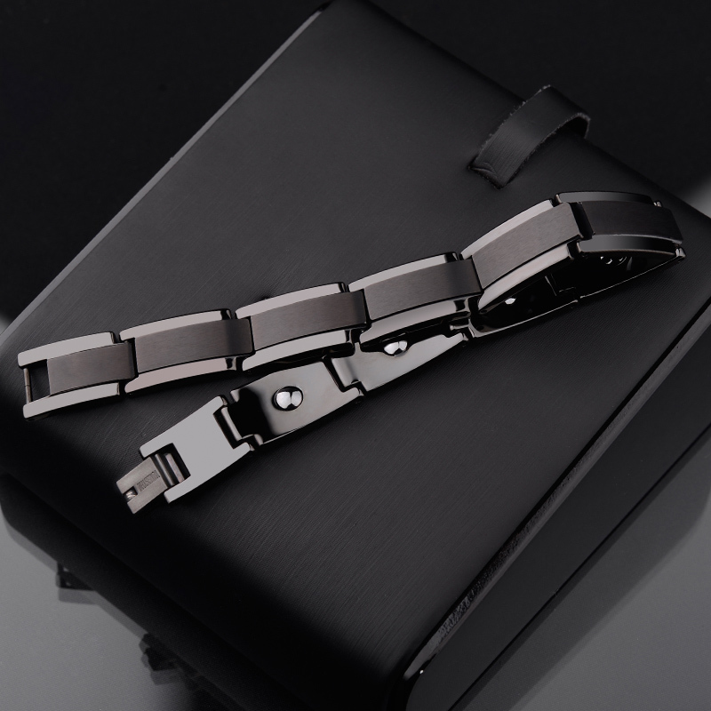 New Fashion Top Quality Black Tone Tungsten Steel Bracelets for Man Length Adjustable 10mm Width Inlay the Energy Magnetic Stone 2018 new arrival 10mm width black ceramic bracelet tungsten links for man inlay luxury opal 18 5cm 20cm length free shipping