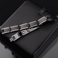 New Fashion Top Quality Black Tone Tungsten Steel Bracelets for Man Length Adjustable 10mm Width Inlay the Energy Magnetic Stone