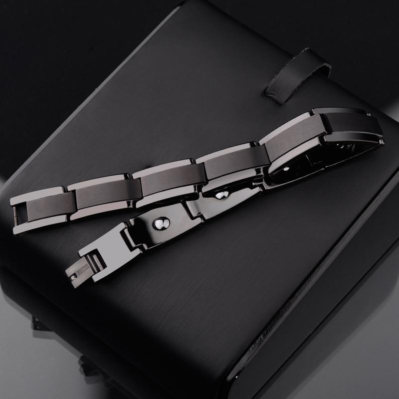 Nouveau Mode Top Qualité Noir Tone Acier De Tungstène Bracelets pour Homme Longueur Réglable 10mm Largeur Inlay L'énergie Magnétique pierre
