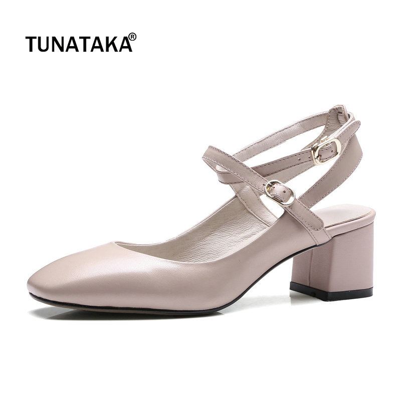 Genuine Leather Comfort Square Heel Ankle Strap Woman Pumps Fashion Buckle High Heel Shoes Square Toe Shoes Woman Black Beige цена