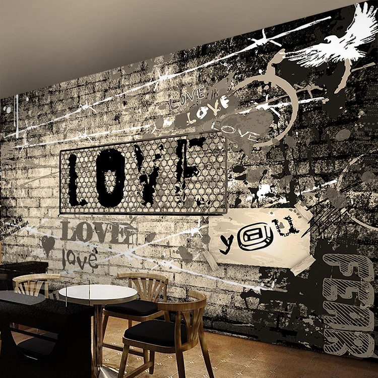 3D photo wallpaper 3D custom personality Street rock graffiti wallpaper cafe bar KTV music room wallpaper mural
