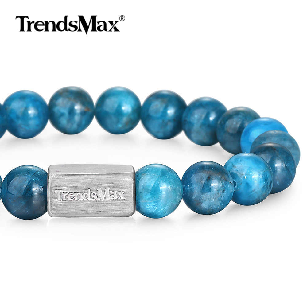 Natural Stone Beaded Bracelet Bracelet Blue Stainless Steel Link Chain Crystal Wristband Apatite Phosphorite Gemstone TBB01104