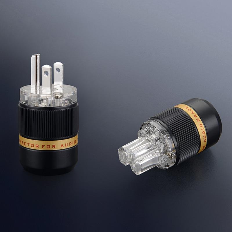 Free shipping one pair Viborg VM511R VF511R Pure Red Copper Rhodium Plated US Plug power plug