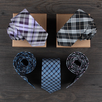 Slim Ties for Men Silk Woven Plaid Necktie Red Purple Black Gravata Slim 2018 Fashion Luxury Groomsmen Seda Designer Skinny Tie