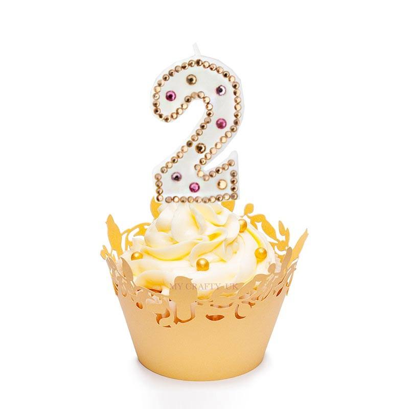 Hand Made Diamond Candle Gold Color Numbers Birthday With Rhinestone Child Party Cake Decoration 0 9 In Decorating Supplies