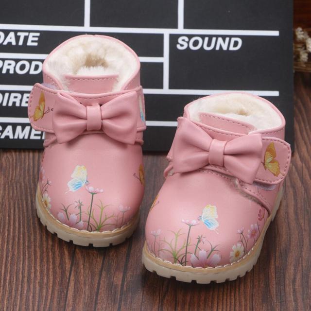 2016 invierno nueva moda niños kids shoes girls flor arco zapatos inferiores suaves de algodón acolchado shoes shoes botas de invierno del bebé