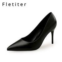 Fletiter Black Color Classic Women High Heels Shoes 5 7 9cm Female Simple Women Pumps Heels Dress Shoes Small Size 34 40