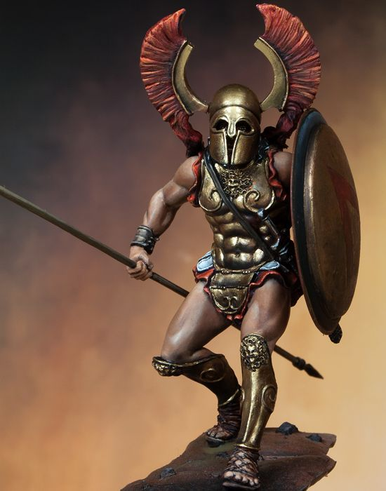 Assembly  Unpainted  Scale 1/24 75mm Ancient Spartan Knight 75mm  Figure Historical  Resin Model