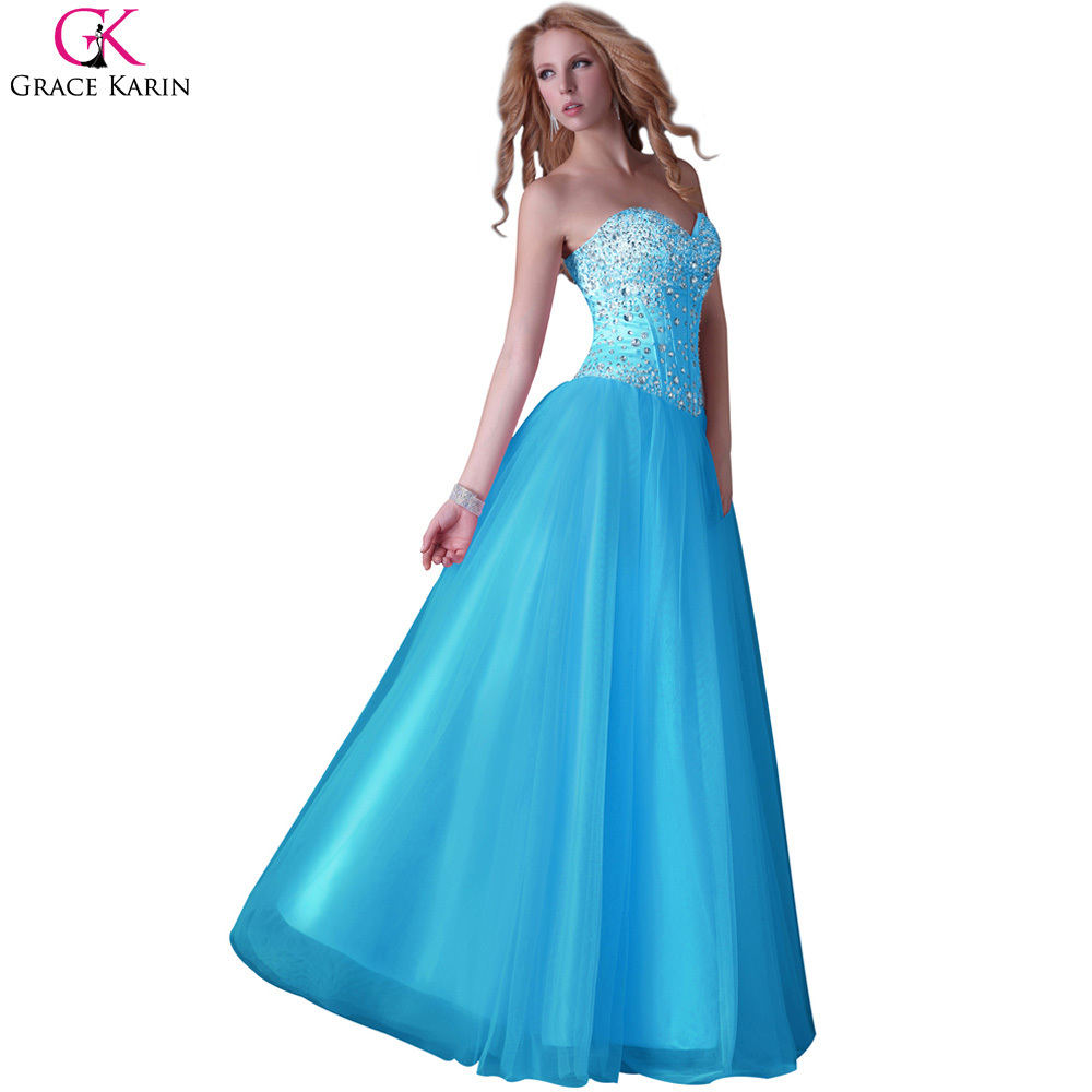 Blue Prom Dresses 2017 Grace Karin Tulle Corset Sparkly Sequin Bead ...