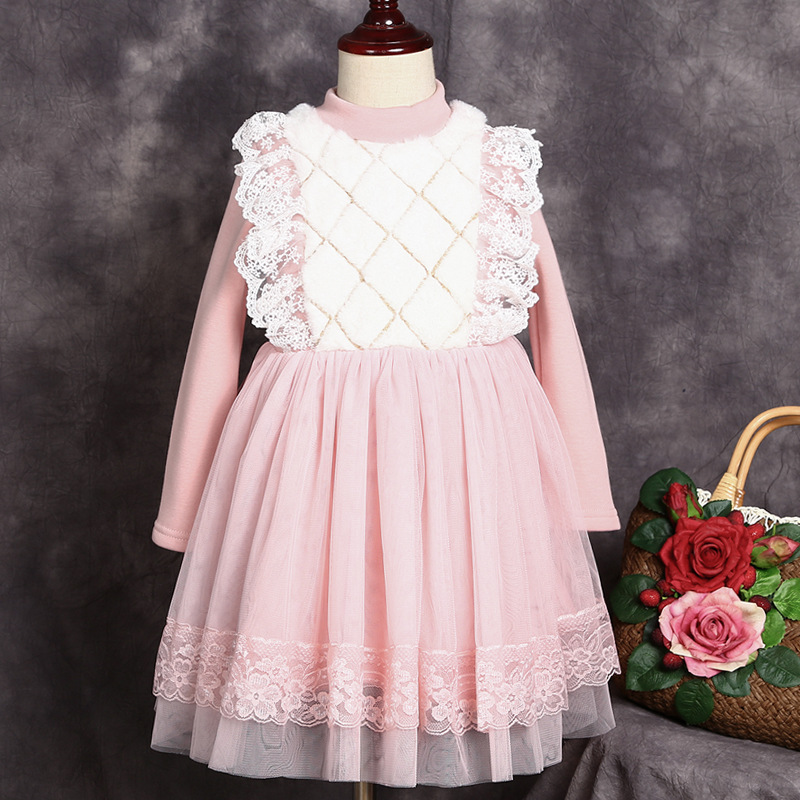 2018 Hot Fashion Full Sleeve Length Girl Dress Cute Clothing Cotton Princess Dress For Girls Free Shipping  Four Seasons Clothes pocket full length tee dress