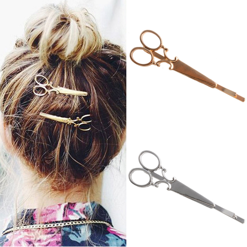 Fashion Women Chic Scissors Shape HairClip Gold/Silver Hair Pin Accessory W15