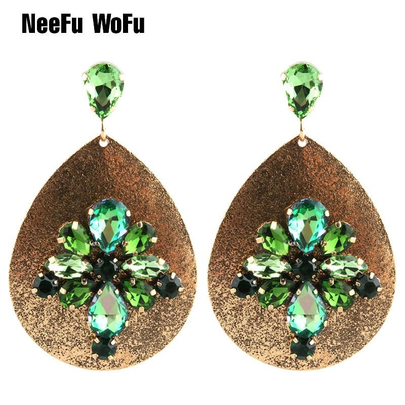 NeeFu WoFu 2018 Crystal Long Earrings Big Water Drop Large Earrings For Women Metal Retro Brincos Bohemian Ear Fine Jewelry Gift