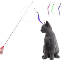 Симпатичный Дизайн Кошка Палки Гибкая, Расширяемая Pet Cat Игрушка Провод Перо Тизер Плюшевые Летной Подготовки для Cat 1 шт. Цвет случайно
