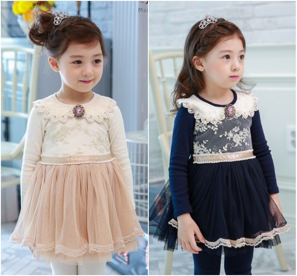 EMS DHL Free shipping 2017 New Spring Autumn Tulle Dress Baby Girls Kids Toddlers Dress Long sleeve tutus 2-7 years 2colors dhl ems new for del ta inverter vfd075m43a 380v 7 5kw