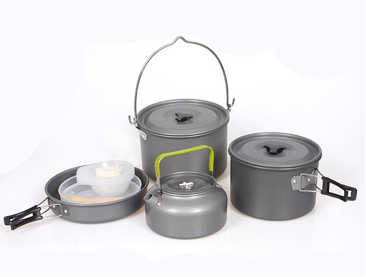 5 7 person Outdoor Camping Cookware Set Picnic Bowl Kettle Pan Pot Set DS700