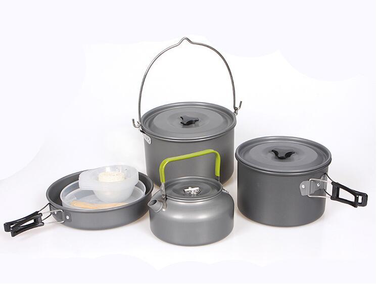 5 7 person Outdoor Camping Cookware Set Picnic Bowl Kettle Pan Pot Set DS700