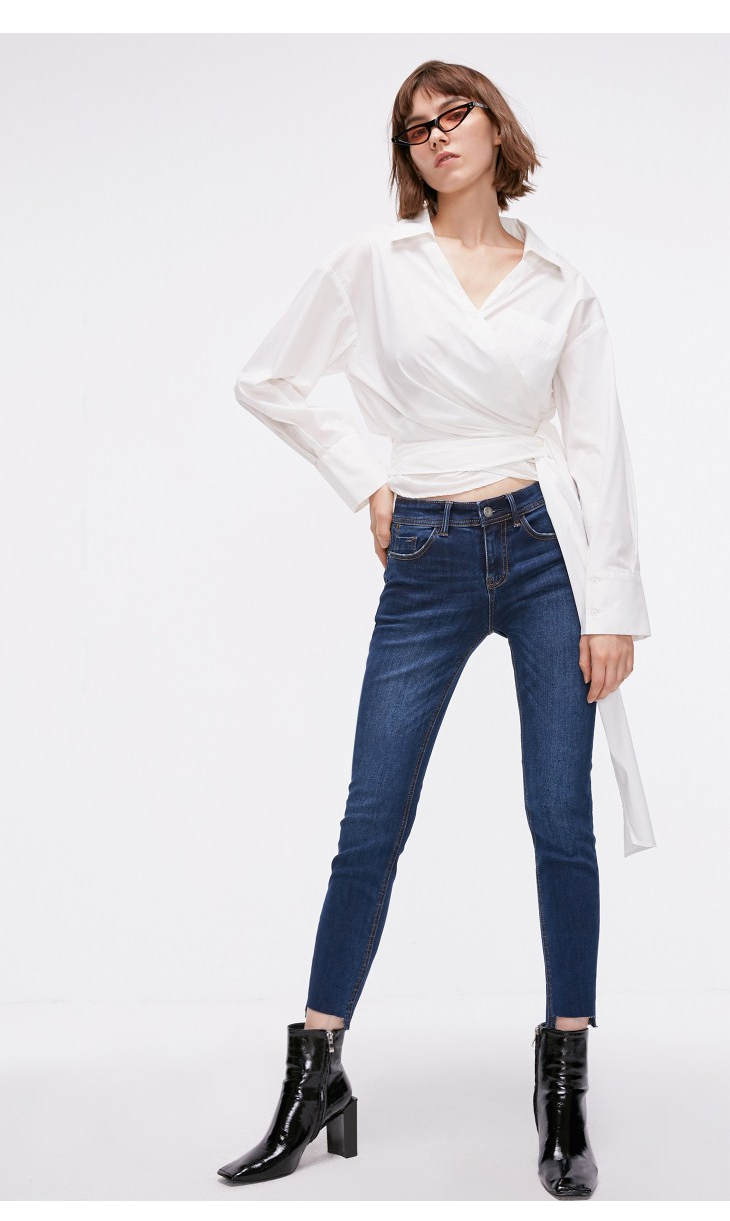 ONLY Women's autumn new low waist slim cropped jeans| 118349591 17