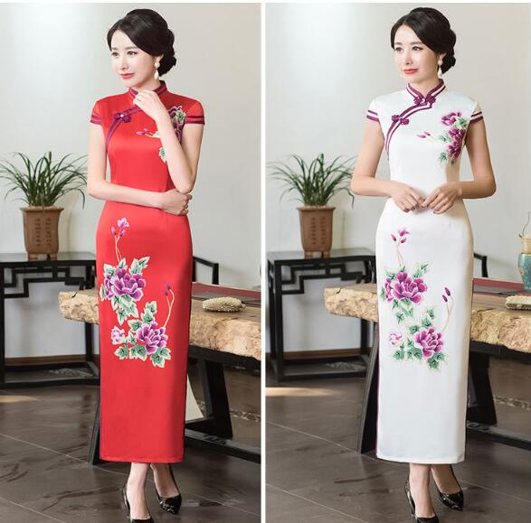 Hot Red White Traditional Chinese Women's Satin Long Halter Cheongsam Qipao Elegant Dress Flower S M L XL XXL XXXL