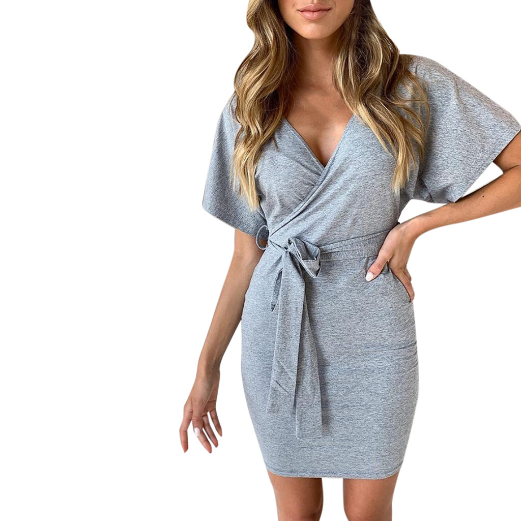 Женское платье-бандаж с v-образным вырезом, короткий рукав, пояс, галстук, Дамское облегающее вечернее платье, однотонное серое уличная офис...