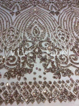 5yards D209 dobby nude gold 61#  pearls glued print glitter tulle mesh  fabric for sawing wedding bridal gown