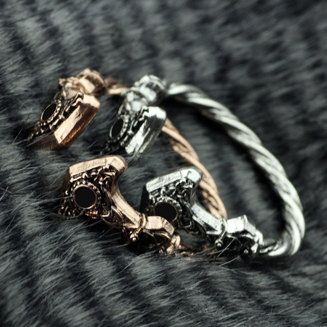 Cool Viking Jewelry Mens steel wire Wolf Bracelets Bangles Thors