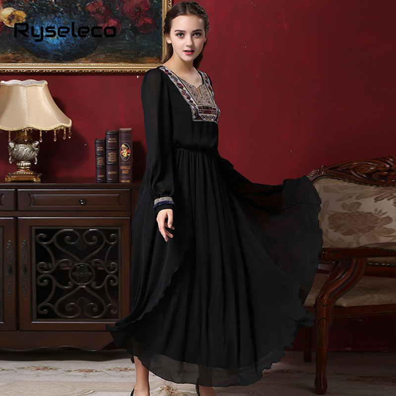 Women Vintage Muslim Maxi Dress Female 2017 Spring Retro Sexy High Split Ethnic Aztec Embroidery Long Sleeve Full Length Dresses