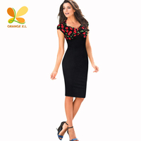 Women Red Cherry Pattern Patchwork On Bodice Middle Pencil Dress Office Ladies Tailored Skinny Black Working
