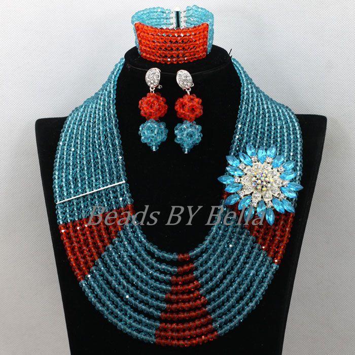 10 couches nigérian femmes Costume cristal perles collier ensemble bleu ciel Orange mariage perles dentelle bijoux ensembles livraison gratuite ABK467