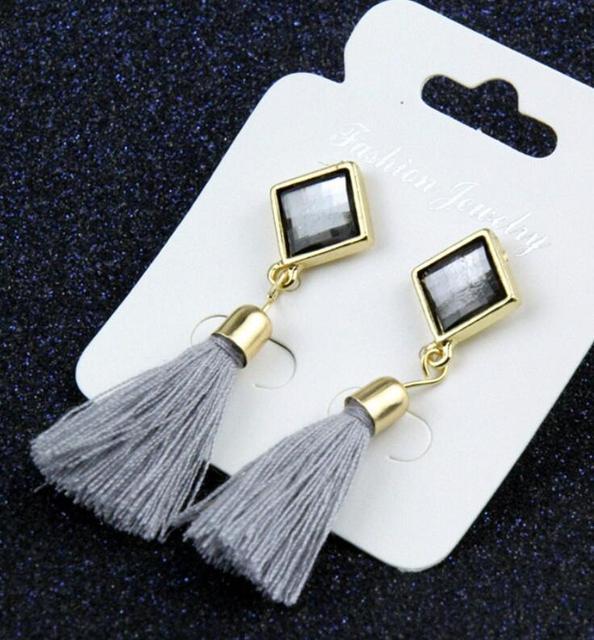 Retro Long Gem Tassel Fringing Earring Rhinestone Yarn Ethnic Wire Fashion Drop Earrings Jewelry Accessory for Women e075