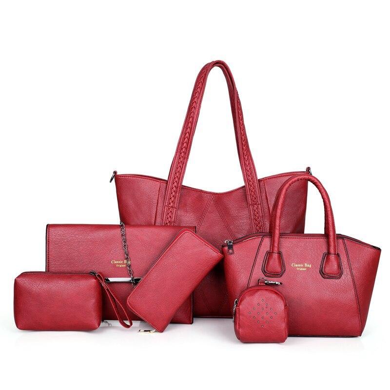 6/шт композитная сумка большая женская сумка и сумки через плечо женские дизайнерские модные женские роскошные сумки 2019 сумки в роскошных с... - 2