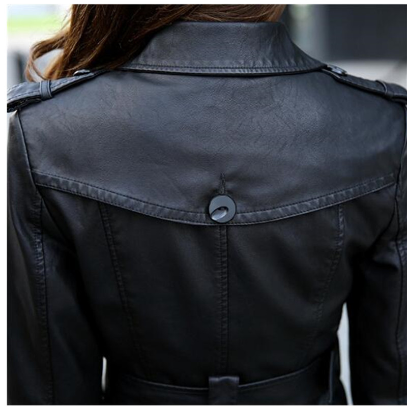 2018 Large size PU Leather Women Jacket Coats Autumn Double breasted Slim Women Faux Leather Long Coat Belt Women Clothing 5XL