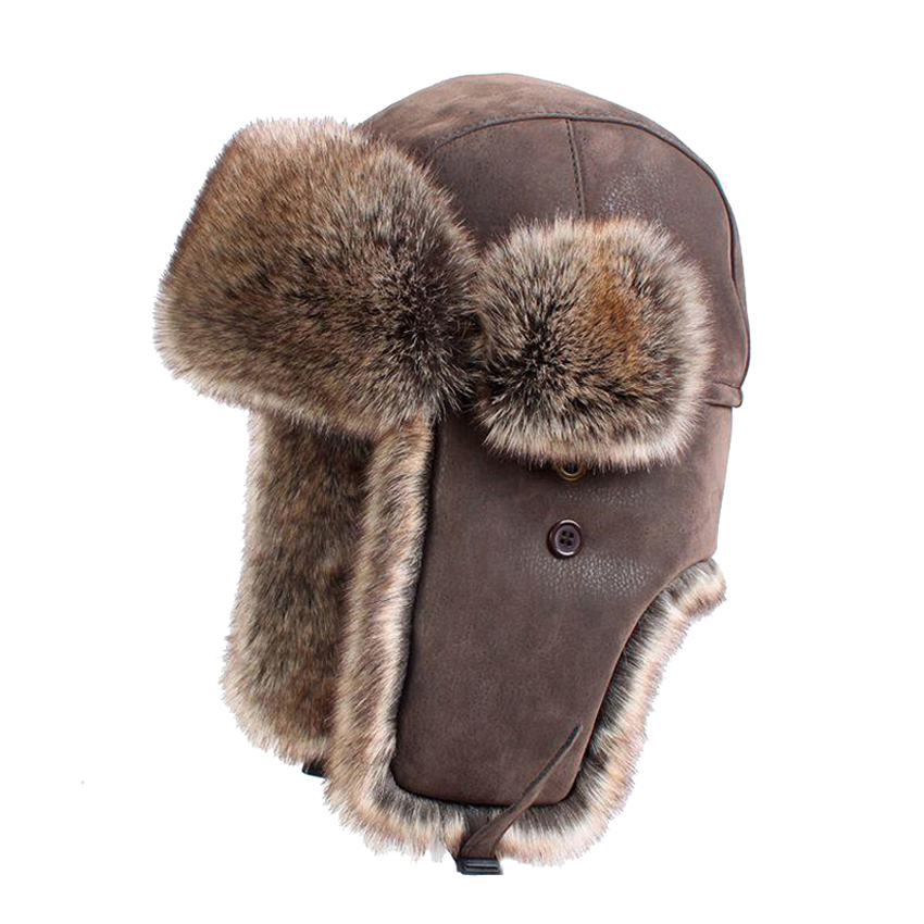 Winter Bomber Hattar Vintage Ryska Ushanka Caps Män Kvinnor Faux Fur Trapper Hat PU Läder Wind Proof Earflap Trooper Mössor