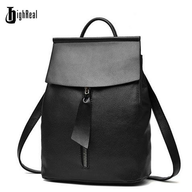 HIGHREAL Women Leather Backpack Small Minimalist Solid Black School Bags for Teenagers Girls Feminine Backpack  sac a dos femme keenici small women leather backpack for girls feminine knapsack school bags for teenagers rucksack mini backpacks rivet black