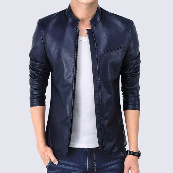 Black Red Blue Mens Faux Leather Jackets and Coats Spring Autumn Slim Fit Leather Jackets Men Plus Size 5XL Blouson Cuir Homme