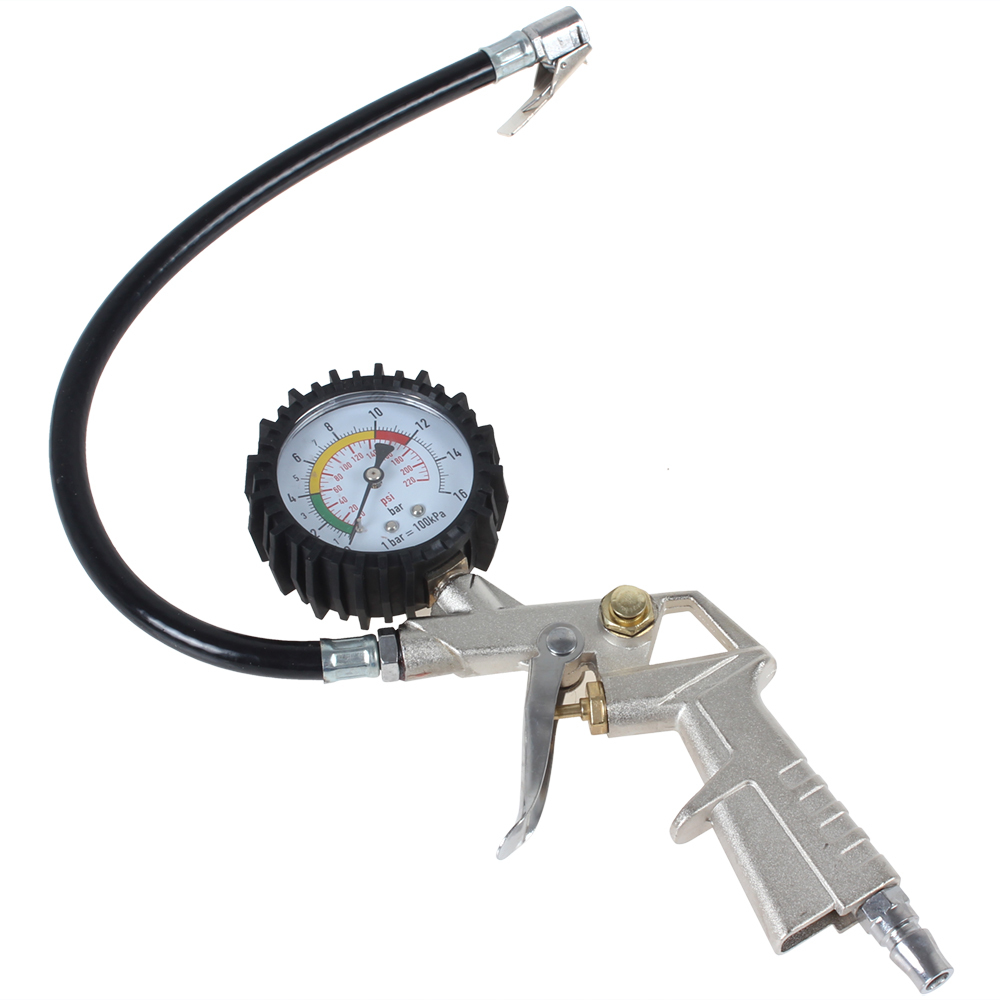 Tire Air Pressure Gauge 0  16 Bar With Inflating Gun Fit For Auto Car Motorcycle Bicycle Type Measure Meter In Pressure Vacuum Testers