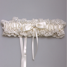 Western Style NEW Elegant Bowknot Lace Wedding Garter Set Pearl Bridal Leg Garter Belt Lace Bride Wedding Props Accessories