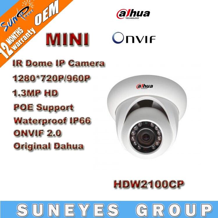 Dahua 1.3MP HD POE Dome IP Camera 720P support  IR IP66 Waterproof   IR Night Vision HDW2100CP