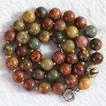 Piedra natural picasso jasper 8mm 10mm 12mm redondo perfecto perlas collar de cadena para las mujeres elegantes regalos choker joyería 18 pulgadas b728