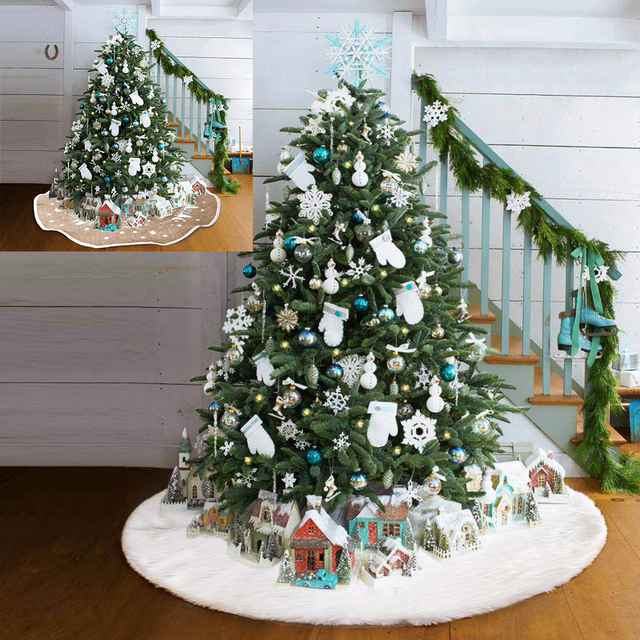 snow plush christmas tree skirt base floor mat cover xmas merry christmas tree ornament santa claus - Cheap Christmas Tree Skirts