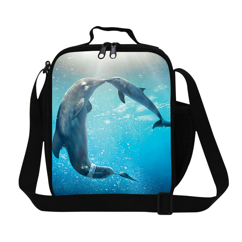 personalized dolphins 3D print girls insulated lunch bag,Stylish lunch cooler bags for kids cute work lunch box bag for women