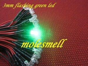 """Image 5 - 100pcs 3mm 5v 12v 24v מהבהב אדום, צהוב, כחול, ירוק, לבן מהבהב פלאש LED מנורת אור קבע מראש Wired 3 מ""""מ 5v 12V 24v DC Wired"""