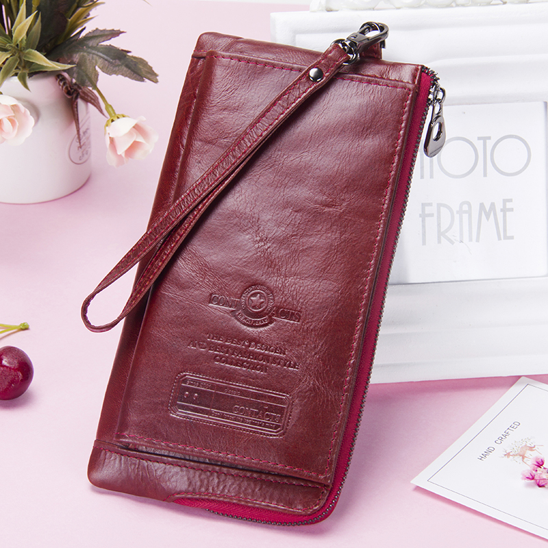 Image 5 - Contact's New Genuine Leather Woman Wallets Long Clutch Female Purse Brand Design Phone Bag For Female 2019 Fashion Coin Wallet-in Wallets from Luggage & Bags