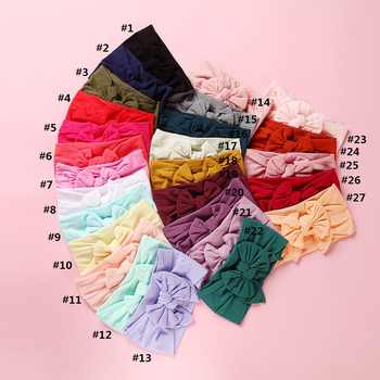 MengNa 27 color Pick 2019 New Knot Hair Bow Wide Nylon Headbands Newborn Knotbow Nylon Turban Headwraps Girls Headwear 30pc/lot - DISCOUNT ITEM  10% OFF All Category